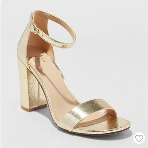 Gold High Block Heel Pumps